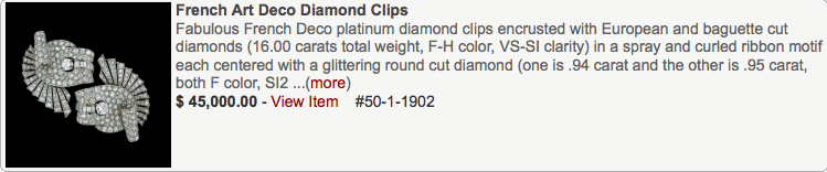 French Art Deco Diamond Clips